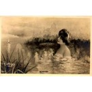 Mermaid in Water Sailboat Real Photo