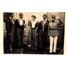 Dressed Up Group Black Faces Real Photo