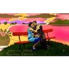 Lovers on Bench Pochoir Art Deco RP