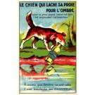 Dog Holding Bottle at Shore Advert Wine