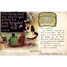 Maid Doll Cat in Chair Advert Calendar 1910