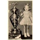 Girl by Horse Racing Gold Cup Ohio Real Photo