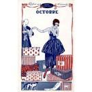 Advert Magazine October Lady Cat Art Deco