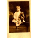 Girl Holding Teddy Bear Real Photo