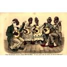 Blacks Playing Banjo Currier & Ives Design