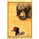 Little Black Facing Hippopotamus Hand-Drawn