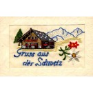 Swiss House in Mountains Embroidered Silk