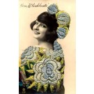 Embroidered Silk Spanish Beauty Real Photo