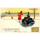 Advert Oil Motorcyclist and Lady with Puppy
