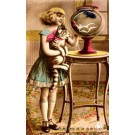 Girl with Cat near Fish Tank