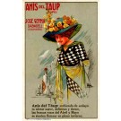 Lady Drinking from Glass Advert Anise Spanish
