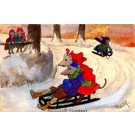 Mouse Sleigh Hand-Painted French