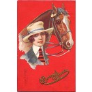 Art Deco Glamour Woman Horse