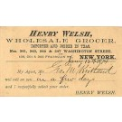 Henry Welsh Grocer NY City Advert
