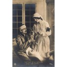 Red Cross Nurse with Medicine Wounded WWI RP