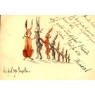 Rabbits in Line Hand-Drawn