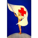 Young Nude Male with Red Cross Flag on Globe