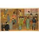 Men Talking to Geishas Behind Bars