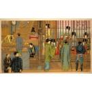 Men Talking to Geishas Behind Bars