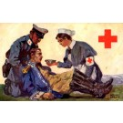 WWI Nurse Giving Drink to Wounded