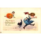 Running Child Pulling Cat Jack-o-Lantern