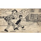 Mutt Jeff Walking Towards House Hand-Drawn