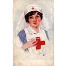 WWI Red Cross Nurse Holding Thermometer