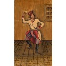 Dancing Cossack with Beer Mug Hand-Drawn