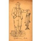 Fisherman with Caught Fish Hand-Drawn