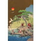 Characters at Shore by Water Woodblock