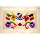 Embroidered Silk Flags Flower Pansy Red Cross