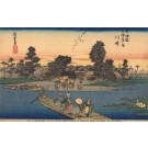 Group Crossing River in Boat Woodblock
