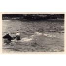 Hawaii Horse Rider Crossing Water Real Photo