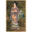 Japanese Lady in Fancy Kimono with Umbrella