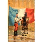 French Cavalry Sodier Cleaning Horse French Flag