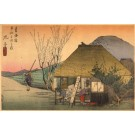 Japanese Village Diner Woodblock