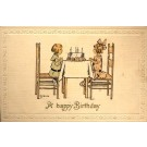 Children at Table with Birthday Cake Woehler