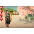 Lady With Umbrella Blooming Tree Woodblock