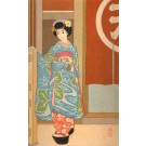 Young Japanese in Kimono Woodblock