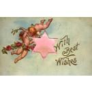 Cupids in Air Flower Roses Fabric Star