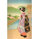 Young Lady Looking Far Woodblock