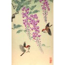 Birds by Flower Bleeding Heart Woodblock