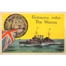 Lion Holding British Flag Battleship