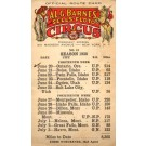 Barnes Sells-Floto Circus Route Card
