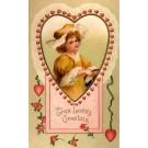 Girl in Hat Inside Heart Valentine