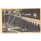 Florida Key West Night Highway Lino-Cut