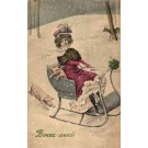 Lady Piglet in Sledge Winter New Year