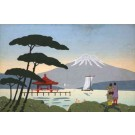 Japanese Looking at Fuji Mountain Woodblock