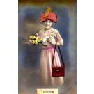 Smiling Girl Holding Flower Roses Silk Hat RP
