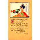 Girl Holding Wreath Christmas Poem Volland #820